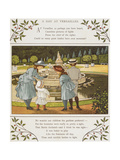 A Day at Versailles. Four Children Looking at a Fountain. Colour Illustration From 'Abroad' Giclee Print by Ellen Houghton