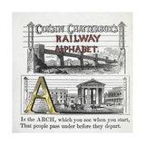 Letter A: Arch. Illustration Of a Bridge Over a River and a City Centre Giclee Print