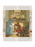 A Mother With Her Children in Front Of a Fireplace. Colour Illustration From 'Abroad'. Giclee Print by Ellen Houghton