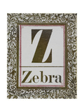 Letter Z: Zebra. Gold Letter With Decorative Border Gicleetryck