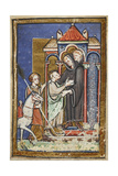 Miniature Of Young Cuthbert Being Welcomed and Embraced by Boisil When Arriving at Melrose Abbey Giclee Print by  Bede