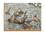 a Ship Being Attacked by a Sea Monster Giclee Print by Abraham Ortelius