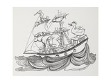 A Ship Crewed by Mice and Captained by a Duck Giclee Print by Arthur Rackham