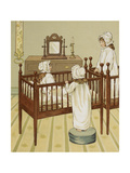 Three Little Girls in Nursery Cots. Colour Illustration From 'At Home' Giclee Print by John Sowerby