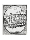 Engraving Of Soldiers in Union With a Union Jack Flag Giclee Print by Thomas Bewick