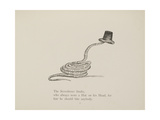 Snake Wearing a Hat From a Collection Of Poems and Songs by Edward Lear Giclee Print by Edward Lear