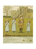 Three Girls and One Boy Fishing. Colour Illustration From 'At Home' Giclee Print by John Sowerby