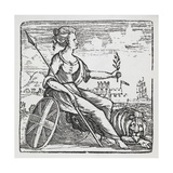 Female Allegory Of Britannia With a Spear, Union Jack Shield and Lion Giclee Print by Thomas Bewick