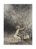 Pandora Opening a Box, From Which Flies Bats Giclée-tryk af Arthur Rackham