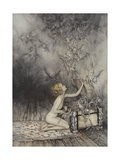 Pandora Opening a Box, From Which Flies Bats Giclee Print by Arthur Rackham