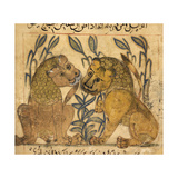 Two Lions Giclee Print by Aristotle ibn Bakhtishu