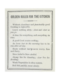Golden Rules For the Kitchen Giclee Print by Isabella Beeton