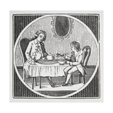 Engraving Of a Man and Boy Having Breakfast Giclee Print by Thomas Bewick