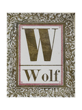 Letter W: Wolf. Gold Letter With Decorative Border Giclee Print