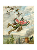 Baron Munchausen Being Carried by Ducks Giclee Print