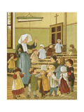 The School-room Of a Creche. Children With a Nun. Colour Illustration From 'Abroad'. Giclee Print by Ellen Houghton