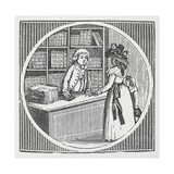 Engraving Of a Woman and Shop Assistant at a Book Shop Giclee Print by Thomas Bewick