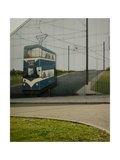 Painting Of Bradford Tram On Side Of Corrugated Metal Building Giclee Print by Fay Godwin