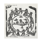 Woodcut Illustration Of a Circle Of People, Possibly Quakers, Dancing Around a Central Figure Giclee Print by Thomas Bewick