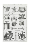 Arrangement and Economy Of the Kitchen. Various Cooking Utensils Giclee Print by Isabella Beeton