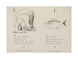 Elephant and Fish Illustrations and Verse From Nonsense Alphabets by Edward Lear. Giclee Print by Edward Lear