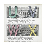Illustrations Of Letters U, V, W and X: Urchin, Viaduct, Whistle and X-press Giclee Print