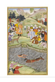 Babur Standing On the Banks Of the Ganges Where He Flung Himself When His Horse Lost Its Footing Giclee Print by Gwaliori Nand