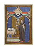 Miniature Of Cuthbert Discovering Three Loaves Of Bread in a Previously Empty Storehouse Giclee Print by  Bede