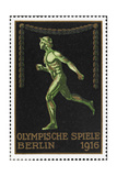 A Naked Athlete Running. Germany 1916 Berlin Olympic Games Poster Stamp, Unused Reproduction procédé giclée