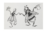 A Fly and Bee Getting Married Giclee Print by Arthur Rackham