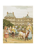 In the Luxembourg Gardens. a Carriage Pulled by Gpats, Carries Children Giclee Print by Ellen Houghton