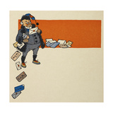 An Old Man (The Author ) Reading Letters Addressed To Santa Claus Giclee Print by William Denslow