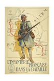 Poster Depicting a French Infantry Soldier, Holding a Rifle. a Map Of Europe Behind Him - Giclee Baskı