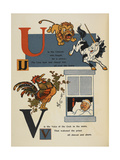 Alphabet Page: U and V. the Unicorn and Lion. the Cockerel Waking a Priest Giclee Print by William Denslow