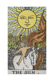 Tarot Card With a Young Child Riding a White Horse With Large Sunflowers and Sun Behind Giclee Print by Arthur Edward Waite
