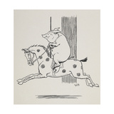 Pig Riding a Merry-go-round Horse Giclee Print by L. Leslie Brooke
