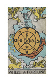Tarot Card With a Central Wheel in the Clouds Giclee Print by Arthur Edward Waite