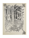 Prince Charming Cuts His Way Through the Overgrown Forest To Sleeping Beauty Giclee Print by Walter Crane