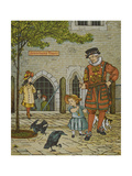 The Tower Of London. Beauchamp Tower. a Beefeater, Child and Two Ravens Giclee Print by Thomas Crane