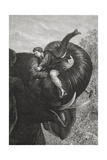 Passepartout Sitting On the Trunk Of an Elephant. 'Around the World in Eighty Days' Illustration Giclee Print by M.M. De Neuville