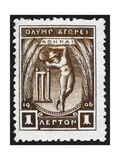 A Discus Thrower. Greece 1906 Olympic Games 1 Lepton, Unused Giclee Print