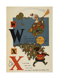 Alphabet Page: W and X. Flying Woman With Broom. Father Xmas (Christmas) Giclee Print by William Denslow