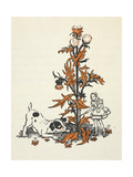 Shrunken Alice and the Puppy by a Giant Thistle. Giclee Print by Gwynedd Hudson