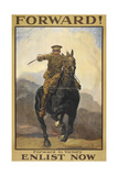 """""""Forward !"""" Forward To Victory. Enlist Now'. a Recruitment Poster Showing a British Cavalryman Giclée-tryk"""