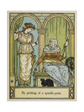 Sleeping Beauty Stands Next To an Old Woman With a Spinning Wheel and Thread Giclee Print by Walter Crane