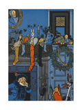St. Nicholas Emerging From a Chimney Into a House, On Christmas Eve Giclee Print by William Denslow