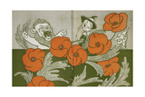The Cowardly Lion, Scarecrow and Tin Woodman in the Deadly Field Of Poppies Giclee Print by William Denslow