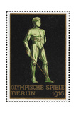 A Naked Fencer. Germany 1916 Berlin Olympic Games Poster Stamp, Unused Giclee Print