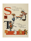 Alphabet Page: S and T. Simple Simon. Tom Piper Giclee Print by William Denslow
