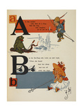 Alphabet Page: a and B. an Archer Who Shot at a Frog. Bo-Peep and Her Sheep Giclee Print by William Denslow